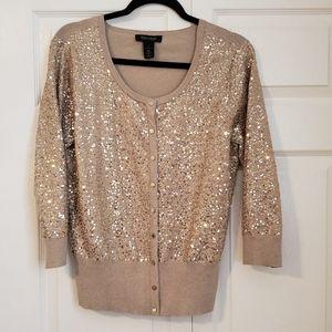 EUC gold sequin White House Black Market cardigan